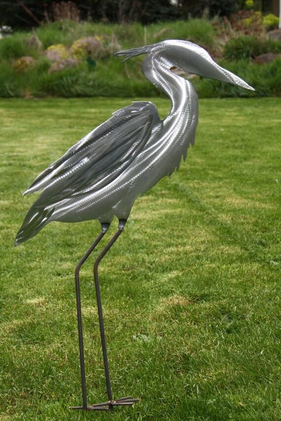 Metal Heron Yard and Garden Art