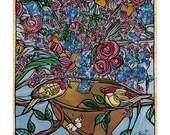 Blue Bird Art Print. Flowers and Yellow Birds Art Print - Blue Kitchen Decor - Original Fine Art Print Blue Florals with Yellow Love Birds
