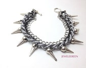 Spikes silver chain bracelet