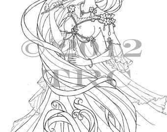 Long Haired Princess printable PDF coloring page