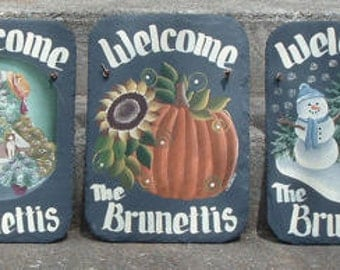 Set of 3 Handpainted Personalized Seasonal Slate  Welcome Signs
