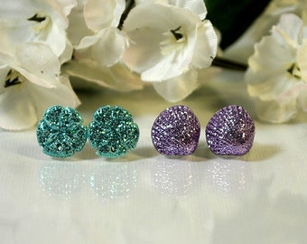 Two Pair Shell Earrings - Purple Sea Shell - Teal Sand Dollar - Post Earrings - Tiny Sea Shell Earrings - Small Seashell - Beach