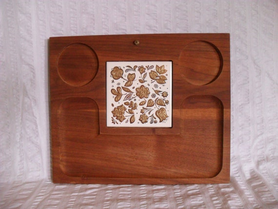 Culver Signed Wood Cheese Board with Ceramic Gilt Trivet Tile Retro Serving Tray