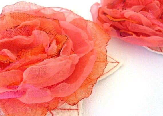 Coral Hair Clip - Brooch - Pin - Corsage - MOTHER-DAUGHTER set of 2 Flamingo Pink Organza Flowers by Fairytale Flower