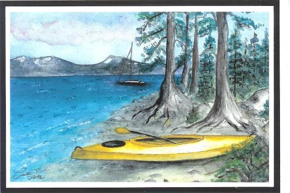 A Day of Kayaking - Lake Tahoe Ca watercolor print  card  (item LS-17)