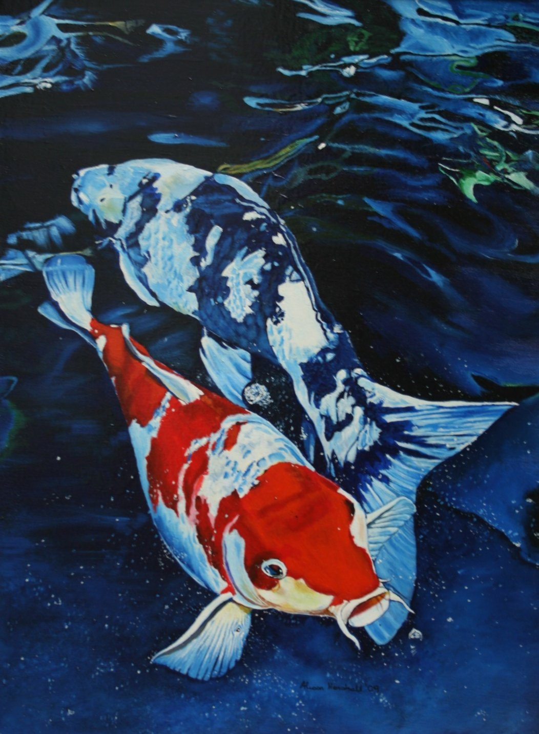 Koi fish print taken from my original painting art for Original koi fish