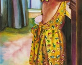 Watercolor Painting of Little Girl in Yellow Sun Dress Brushing her Teeth, Standing on Tip Toe, Waking up, Getting Ready for School,
