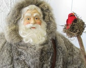 Father Christmas Doll: Large Rustic Woodland Santa with Vintage Rabbit Fur Coat ( One of a Kind Handmade Old World Santa Claus ) - FatherChristmasJoy