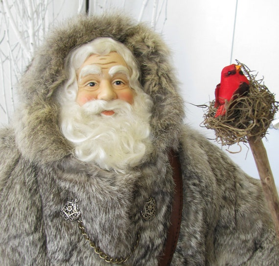 Large Father Christmas Doll: Rustic Woodland Santa with Vintage Rabbit Fur Coat ( One of a Kind Handmade Old World Santa Claus )