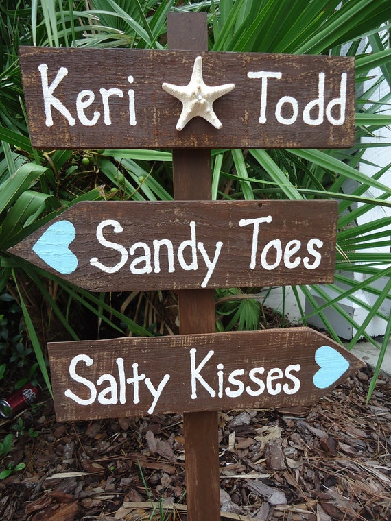 items similar to beach wedding directional sign beach wedding stafish reclaimed wood on etsy