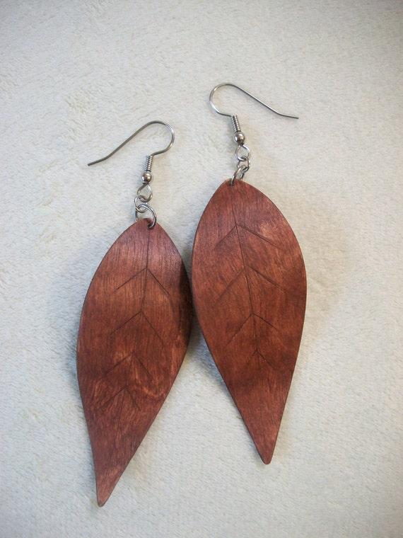 Brown Leaf Wood Earrings/ Wooden Earrings/ Wood Jewelry/ Brown Earrings