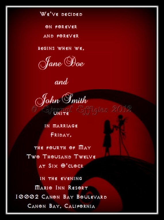 The Nightmare Before Christmas Wedding Invitations for adorable invitations example
