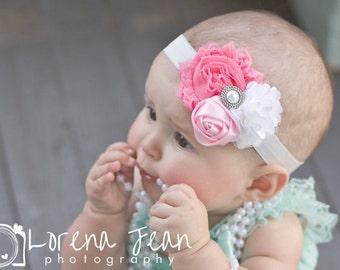 10% OFF  Baby Headband, Shabby flower headband, newborn headband, Satin Rosette headband, Baby girl Headbands, toddler headband, Shabby Chic