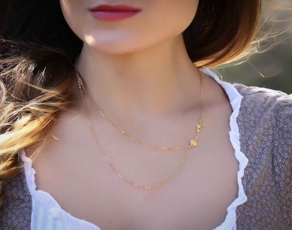 """Fairy necklace, 14k gold filled, asymmetric necklace, delicate necklace, everyday charm, layered necklace, gold necklace, """"Lilaia"""" Necklace"""