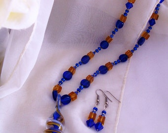 Glass swirl pendant with blue and yellow glass necklace and earring set - glass jewelry set - teardrop pendant necklace - glass earrings