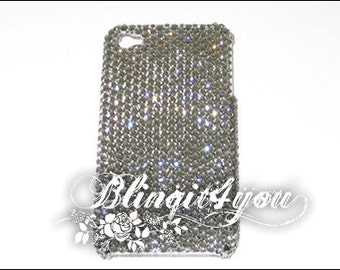 Rhinestone Bling Black Diamond Gray Back Case Cover for new iPhone 5 5S 5C 6S 6 7 Plus Custom Handmade with 100% Swarovski Crystal Elements