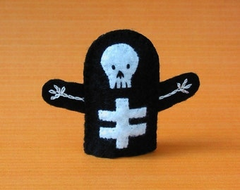 Skeleton Finger Puppet - Felt Skeleton Puppet - Halloween Finger Puppet - Felt Finger Puppet Skeleton - Halloween Puppet