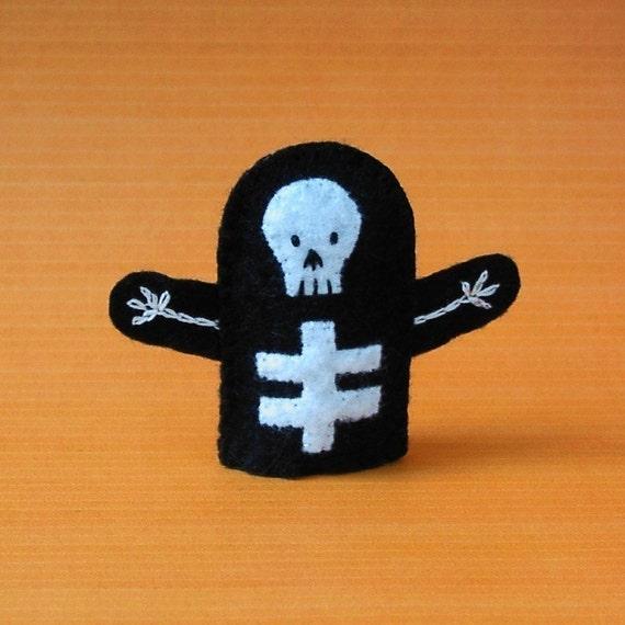 Skeleton Finger Puppet - Felt Skeleton Puppet - Halloween Finger Puppet - Felt Finger Puppet Skeleton - Halloween Puppet