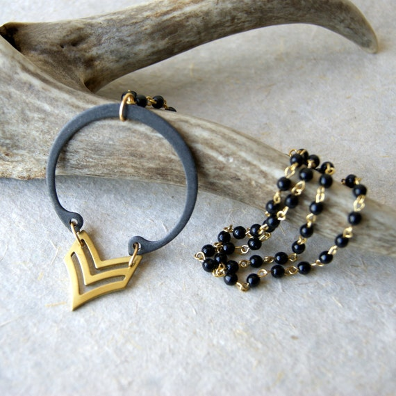 Chevron Necklace - brass - retaining ring - vintage black bead chain - Chevron Jewelry - Rustic Jewelry - boho fashion