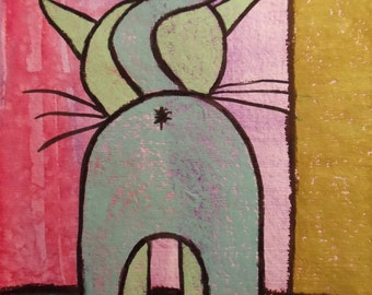 "Sage Kitty Butt 8 X 10"" Custom Matted Print"