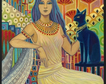 Bast Egyptian Cat Goddess Art Deco 20x24 Giclée Canvas Print Pagan Mythology Psychedelic Gypsy Goddess Art