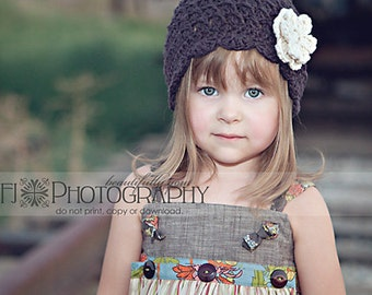 Girls Hat, Kids Hat, Crochet Hat, Cloche Hat, Flapper Hat, Shell Beanie with Flowers, Free US Shipping
