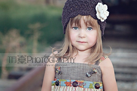 Girls Hat, Childs Hat, Crochet Hat, 5T-Preteen Shell Beanie with Flowers -Espresso Ecru, Free US Shipping