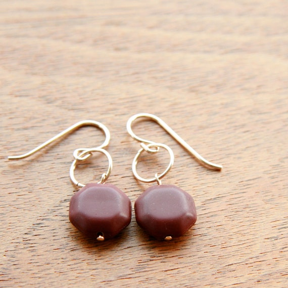 burgundy octagon earrings (geometric glass. gold filled wire)
