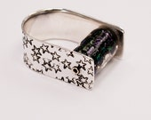 Galaxy Star Purple Glass Stamped Sterling Silver U Band Ring size 6