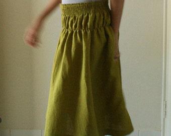 LINEN SKIRT / mustard / linen maxi skirt / womens linen clothing / spring summer / eco / plus size / australia / organic / by pamelatang