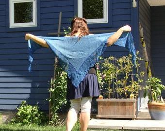 handknit silk and wool lace shawl