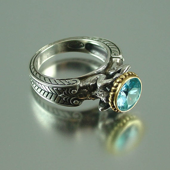Blue Zircon CARYATID Ring in Silver and 14K gold