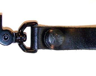 Black Leather Key Fob/Steampunk Harness Clip w Black Skull Snap by Darkwear Clothing