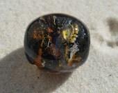 Lampwork Focal Bead, Black Silver  Artisan Handmade SRA LETEAM Glassymom
