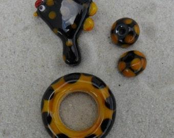 Lampwork Chicken Set, Black Dark Yellow Artisan Folk Art Style Handmade SRA LETEAM Glassymom