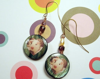 BABY GUINEA PIG Photo Earrings - Iridescent Gray Shell Photo Charms w/  Cathedral Glass Crystal & Copper Wire Wrapping