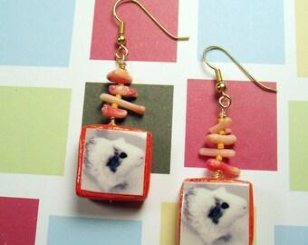 Orange GUINEA PIG EARRINGS - Handmade Photo Jewelry with Porcelain, Coral & Glass Beading