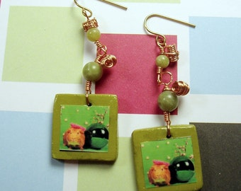 Copper Wire Wrapped GUINEA PIG Earrings with Green Serpentine Beading
