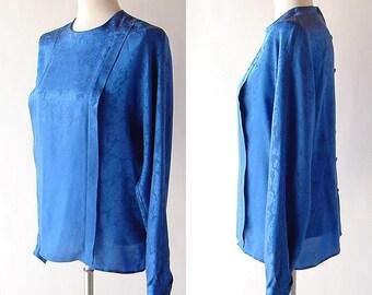 vintage Silk Blouse in Blue / 1980s Pleated Silk Top / Button Back shirt / long sleeve / drape Anne Klein II / modern minimalist s m