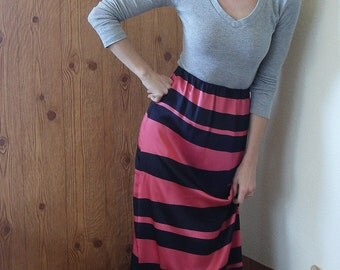 Spicy Toast Maxi skirt bold stripe bondage print 100% silk charmeuse pink black