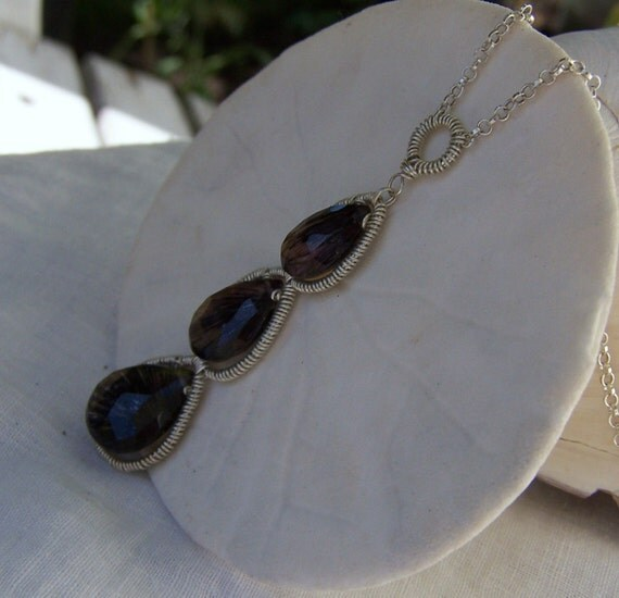 Moss Amethyst briolette, sterling silver coil wrap necklace