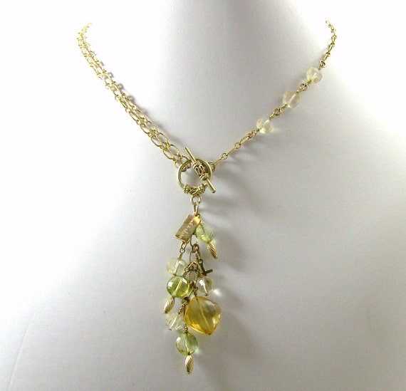 Luxurious Yellow Gemstone Christian Necklace - Gold Filled Chain and Sparkling Yellow Gemstones - Son Shine Collection