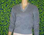 70s Cloud Blue Velour Sweater S M