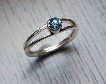 Aquamarine engagement ring, modern engagement ring, March birthstone ring, aquamarine ring silver promise ring Wishes custom