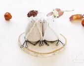 Fall Wedding Cake Topper Burlap and French Vintage Linen Woodland Rustic Wedding Ready to Ship