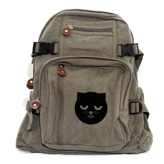 Backpack Sleepy Watson the Cat, Canvas Backpack, Rucksack, Travel Backpack, Cat, Cute Bag, Weekender Bag, Men's Backpack, Women's Backpack