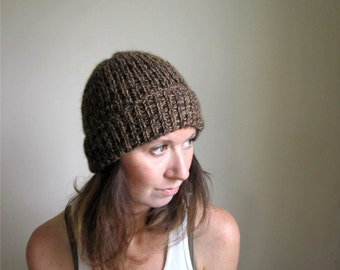 Alpaca Beanie, Black and Camel Marled Hat, Ribbed Cap, Hand Knit Hat, Womens Hats, Mens Hats, Made in Vermont