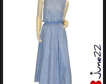 TWISTS & TURNS . vintage blue rockabilly full skirt dress . medium - large