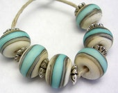 Handmade Lampwork Glass Beads - ivory and turquoise organic etched round beads - Coastal Blues