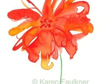 "Splashy orange watercolor flower print: ""Splash of Summer"""